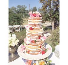 Naked wedding cake with fruit and a messy touch. Perfect for a spring time/rustic wedding