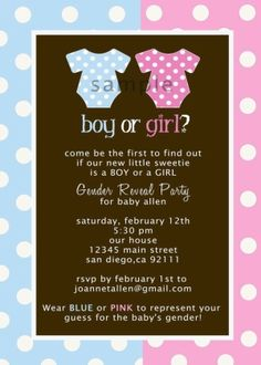 gender reveal invitation idea - boy or girl?
