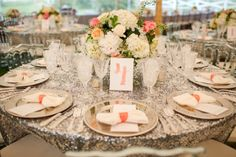 Southern Sparkle & Nautical Bayside Wedding by Katelyn James Photography - Sequin Linens from La Tavola