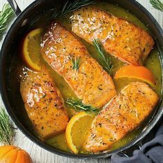 This Orange Rosemary Glazed salmon recipe is EASY and oh-so-delicious! Plus, the skillet helps create those perfectly browned edges that everyone loves. dinner salmon Orange Glazed Salmon Recipe with Rosemary - Cooking Classy Salmon Dishes, Fish Dishes, Seafood Dishes, Seafood Recipes, Cooking Recipes, Healthy Recipes, Dinner Recipes, Baked Salmon Recipes, Healthy Vegetarian Recipes
