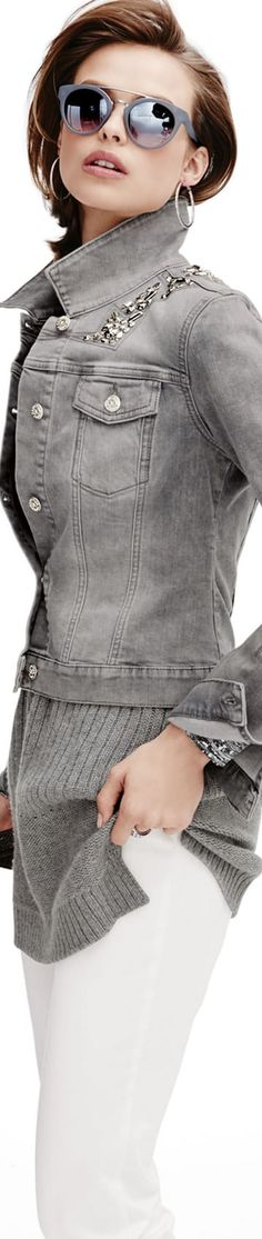 More Madeleine New Arrivals Grey Fashion, Denim Fashion, Fashion Beauty, Autumn Fashion, Fashion Outfits, Womens Fashion, Street Fashion, Grey Denim Jacket, Denim Jackets