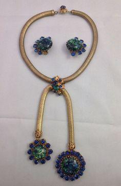 Miriam Haskell Vrba Design Amazing Vintage Demi Parure Glass Set Signed