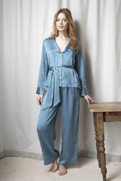 32552177ab Pale blue polka dot silk pyjamas by Alice   Astrid Silk Pajamas