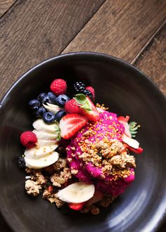 Much like an acai bowl, frozen pitaya acts as the base for this antioxidant-charged smoothie bowl that helps kick your morning off with an energizing start.