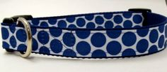 Blue and White Polka  Dot Medium Large Extra by KibblesandCollars