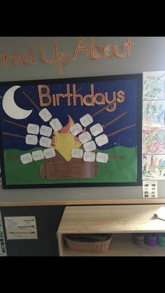 Birthday Board, Rock Painting, Bulletin Boards, Painted Rocks, Preschool, Birthdays, Camping, Decor, Birthday Display Board