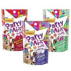 Friskies Treats Party Mix Puffs Variety Bundle Barnyard Bonanza Island Paradise and Meow Royale Flavor Cat Treats 21Ounce >>> Check out this great product.