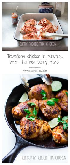 EASY Thai chicken is made with 3 ingredients....crispy, flavorful and so simple! | www.feastingathome.com