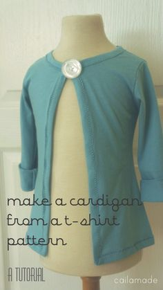 Make a Cardigan from a T-shirt Pattern - A Tutorial by cailamade - sew-whats-new.com