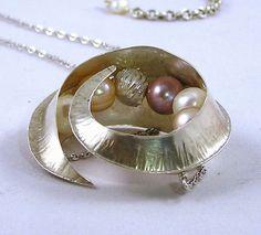Fold formed Fine Silver Seed Pod Necklace with by jennyekberg, $169.00