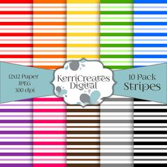 Stripes - Scrapbook Paper. Rainbow by KerriCreatesDigital on Etsy