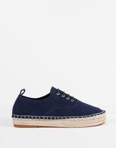 Pull&Bear - mujer - zapatos mujer - blucher yute piel serraje - marino - 11190111-V2016