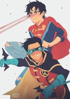 Lightning Strikes Superboy and Robin