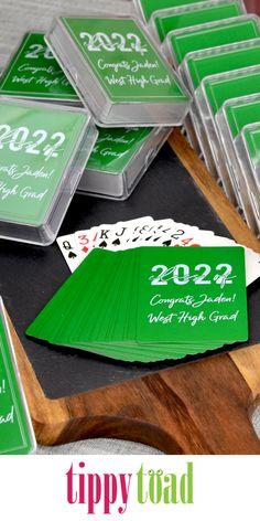 Graduation Party Favor Idea - Playing cards are fun and reusable. Guests will love taking a deck of cards, custom printed with a fun graduation design and message from the graduate to use for their favorite card game. Graduation Party Favors, Graduation Ideas, Masters Degree Graduation, Personalized Playing Cards, Party Guests, Deck Of Cards, Card Games, Messages, Printed