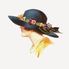 Antique Images: Free Fashion Clip Art: 1915 Women's Spring Hat Fashion Illustration