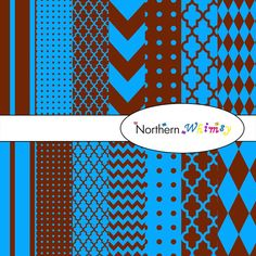 Brown & Bright Blue Digital Paper Pack by NorthernWhimsyDesign