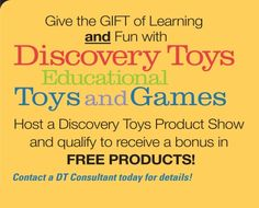 I recently became an Educational Consultant for Discovery Toys! I truely believe that DT toys are the best on Earth for teaching, playing with and inspiring our children! The hostess rewards for January are amazing! Contact me for more info! Learning Through Play, Kids Learning, Child Abuse Prevention, Discovery Toys, Facebook Party, New Years Sales, Home Schooling, Educational Toys, Cool Toys