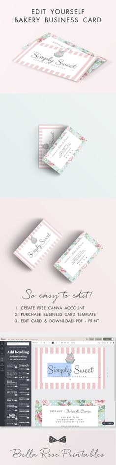 Bakery business card, edit yourself business card design, cupcake business card, diy stationary, pink stripes business card 3834 Paper & Party Supplies  Paper  Stationery  Business & Calling Cards  business card design  bakery business card  cupcake pink stripes  diy stationary  editable stationary  bakery stationary  bakery design  cute cupcake  bakery calling card bakers business card  food blog card  bakery card
