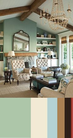 seafoam green living room.  like it with the dark wood.  would match my couch too