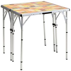Coleman Outdoor Table with Mosaic Top: how to make a mosaic table top for outdoors, diy outdoor mosaic table, mosaic table base wrought iron. Camping Furniture, Table Furniture, Outdoor Furniture, 4 In 1, The 4, Outdoor Picnic Tables, Square Tables, Backyard Bbq, Camping Gear