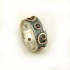 Popular gift for her birthstone ring spiral design by ilanamir