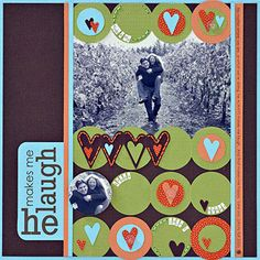 Punch Folded Cardstock to Create Scrapbook Page Backgrounds - paper chain effect