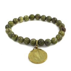Connemara Marble Medium Green Stretch Gold Plated Old Penny Coin Charm Bracelet #ConnemaraMarble #Stretch