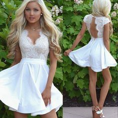 Scalloped Homecoming Dresses, White Short Homecoming Dresses, Sexy Cap Sleeves White Lace A Line Short Homecoming Dress with Open Back Dresses Short, Hoco Dresses, Lace Evening Dresses, Sexy Dresses, Cute Dresses, Wedding Dresses, Cheap Graduation Dresses, White Homecoming Dresses, Lace Outfit