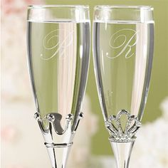 King and Queen Wedding toasting Flutes