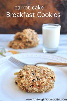 Carrot cake breakfast cookies. Ultimate breakfast on the go. Vegan, gluten free, no sugar, hidden vegetables. www.theorganicdietitian.com