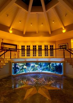 Because nobody's staircase should be boring...  Custom Acrylic Aquarium by  Living Color