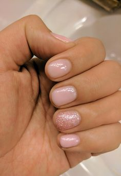 Blush pink glitter gel shellac nails