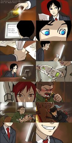 ..::AF: Movie storyboard?::.. by *Megan-Uosiu on deviantART. Cuts quickly between showing different characters and is a bit hard to follow. I like the use of lighting and close up shots though, especially in the 9th and last panels.