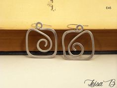 Square Hoop Earrings in shiny silver aluminum Very by leisab
