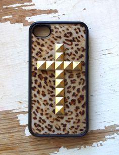 Leopard Gold Cross iPhone 4 Case
