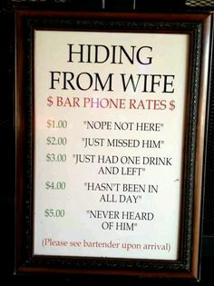 Hiding from wife rates