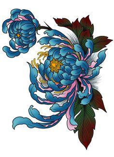 Chrysanthemum Rectangular Pillow by HoriAkuma - Small x Japanese Flower Tattoo, Japanese Tattoo Designs, Japanese Sleeve Tattoos, Japanese Flowers, Tatoo Floral, Floral Tattoo Design, Flower Tattoo Designs, Flower Tattoos, Chicano Art Tattoos
