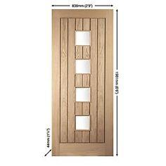 Jeld-Wen Whitehall Glazed Exterior Door Oak Veneer Universal Application (Non-Handed) White Oak Veneer 813 x Images Wooden Front Doors, Timber Door, Glazed External Doors, Veneer Door, Internal Doors, Exterior Doors, White Oak, Contemporary Style, Tall Cabinet Storage