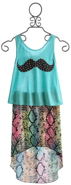 Flowers by Zoe Mustache Top with Snake Print Skirt