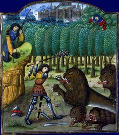 Hercule et le lion de Némée    Raoul Lefèvre, Histoires deTroyes  XVe siècle  Paris, BNF, département des Manuscrits, Français 59, fol. 137