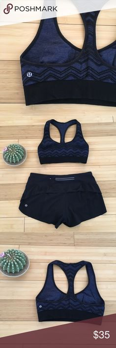 Lululemon Reversible Sports Bra Two in one! One side is a woven blue and black pattern and the other side is a solid dark blue. This reversible sports bra is in good used condition with no flaws. Lululemon Logo is on both sides. No size dot but it is a 6. Check out my other lulu items to bundle and save! lululemon athletica Intimates & Sleepwear Bras