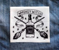 Whiskey Witch - White Patch de CatCoven en Etsy https://www.etsy.com/es/listing/181158893/whiskey-witch-white-patch