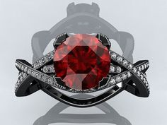 Example of Black Gold with Red stone what it would look like.