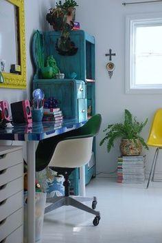 White walls, coloured furniture