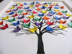 Tree of Mini Butterflies. Personalized with Name at Bottom. YOUR Colour Choices. Made to Order 8 x Mini Butterfly Tree. von x Mini Butterfly Tree. Diy And Crafts, Crafts For Kids, Arts And Crafts, Paper Crafts, Butterfly Tree, Butterfly Wedding, Origami Butterfly, Art Papillon, Art Projects