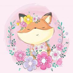 Милая лиса с цветком Вектор | премиум Скачать