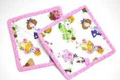 Pot holders, hot pads – Wonderful sewing ladies in bright colors on a white background