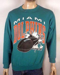 vtg 80s 90s Miami Dolphins Sweatshirt NFL 3D football logo SZ dan marino XL