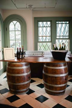 Great idea for a bar! Love the barrels. | BZ events