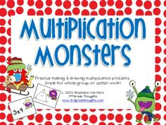 This math activity is the perfect way to engage students, get them moving, and practice different ways to show multiplication: through problems, products, arrays, and fact triangles.The Multiplication Monsters packet includes 24 cards, 5 student work pages and a corresponding answer key.Each monster card features a unique monster and a multiplication problem, array, or fact family.